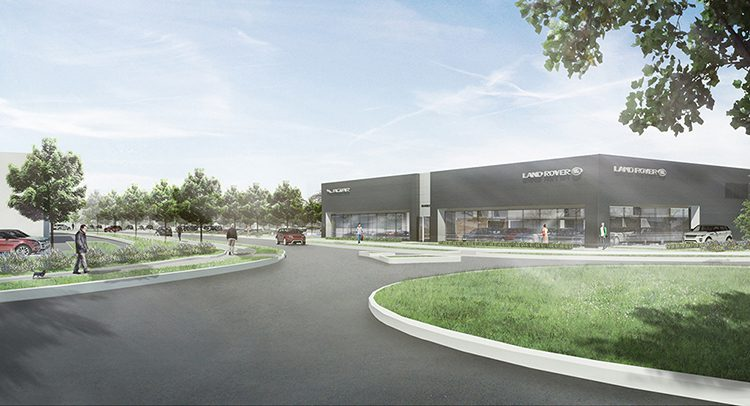 CGI of the new Land Rover unit at Waterbrook Park in Ashford
